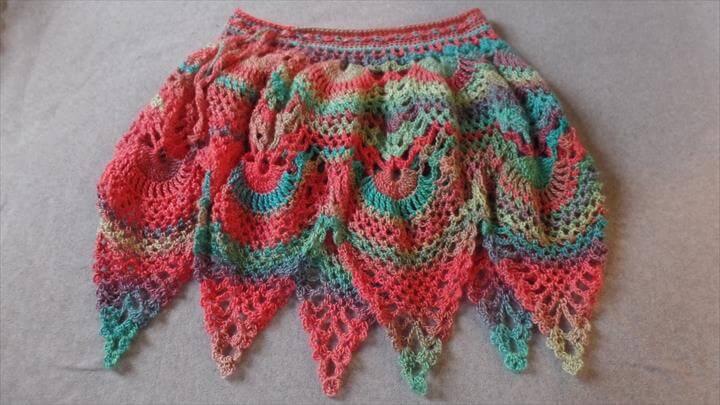 Crochet Womens Ladies Pineapple Stitch Skirt