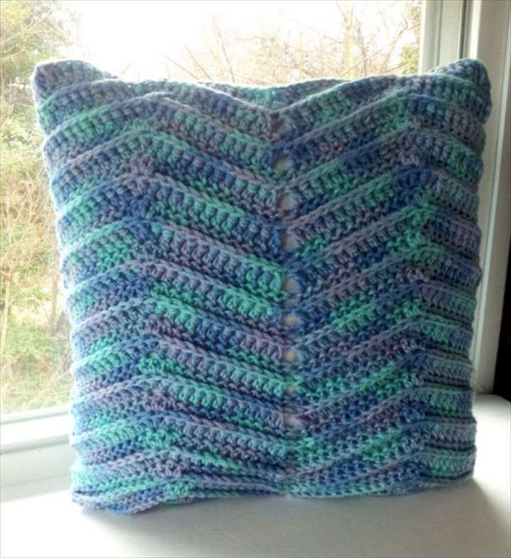 square pillow, home accent pillow, multi-color yarn,