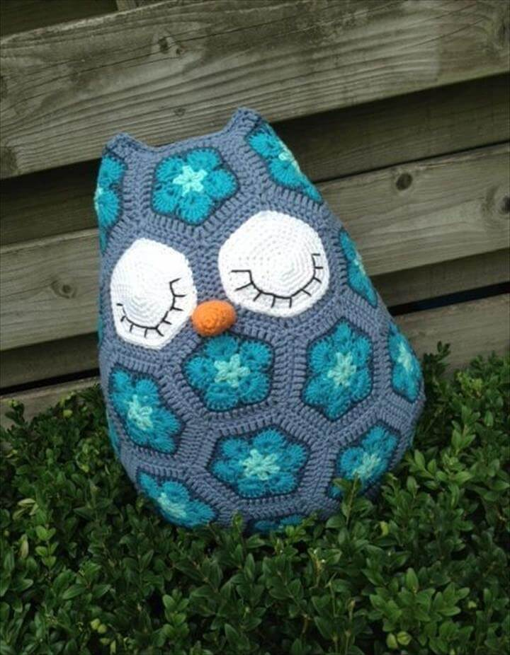 Free Crochet Owl Cushion Pillow Pattern : 20 Gorgeous Crochet Decor Pattern & Ideas DIY to Make