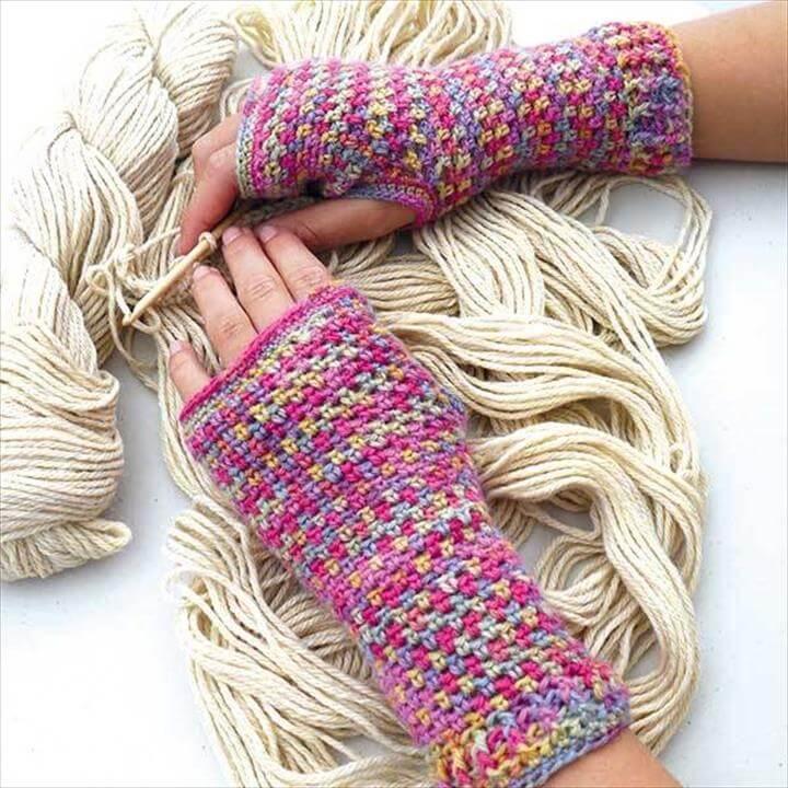 Crochet Pattern Fingerless Gloves Spring Fashion
