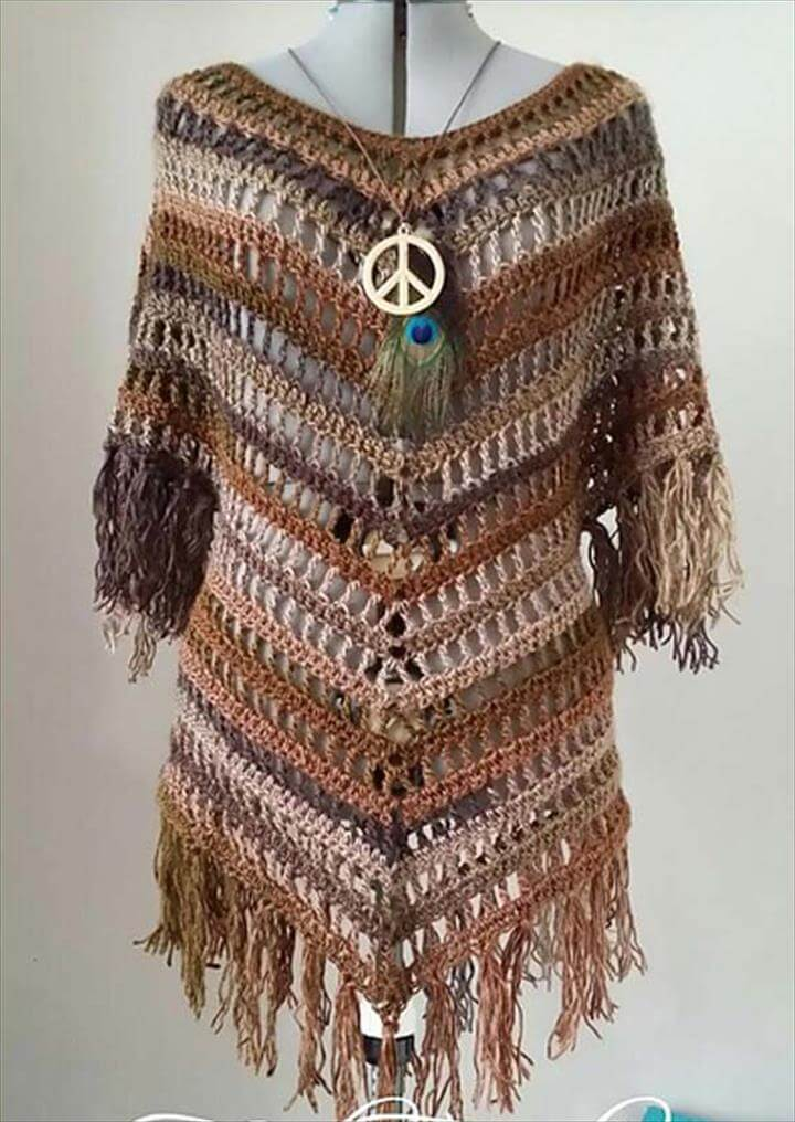 Crochet poncho patterns, Boho Tuniek