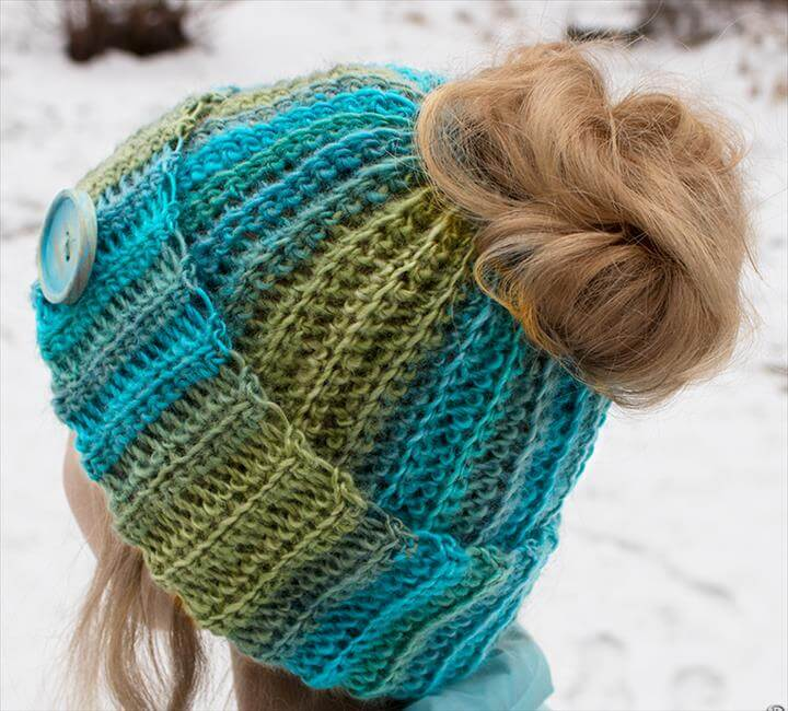 DIY Free Pattern and YouTube Tutorial Video for Crochet Ribbed Bun Hat - Messy Bun Hat