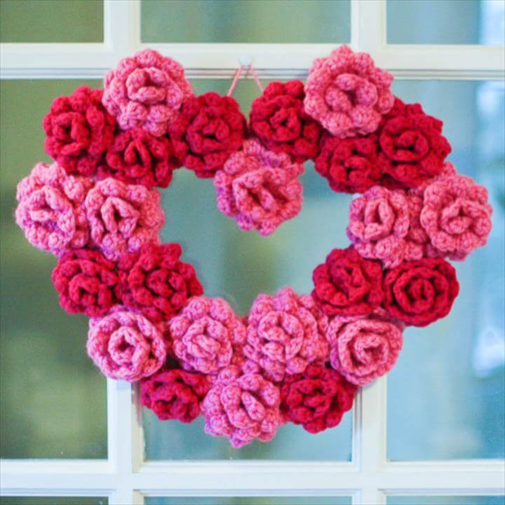 crochet heart wreath