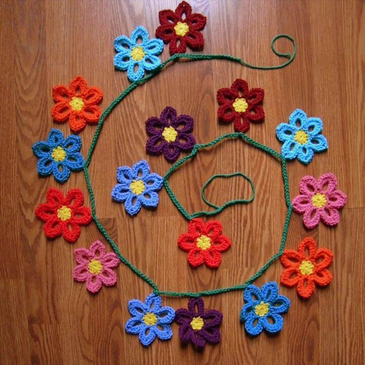 Crochet Spring Flower Garland Pattern