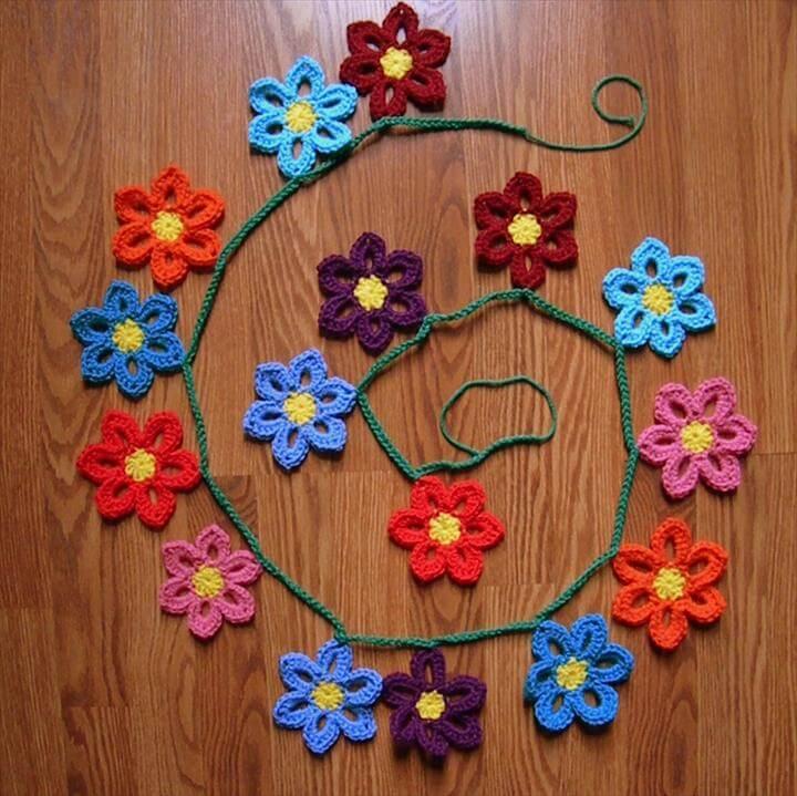 Crochet Spring Flower Garland Pattern