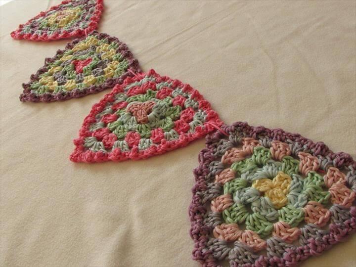 VERY EASY crochet granny triangle bunting / garland - crochet pattern for beginner