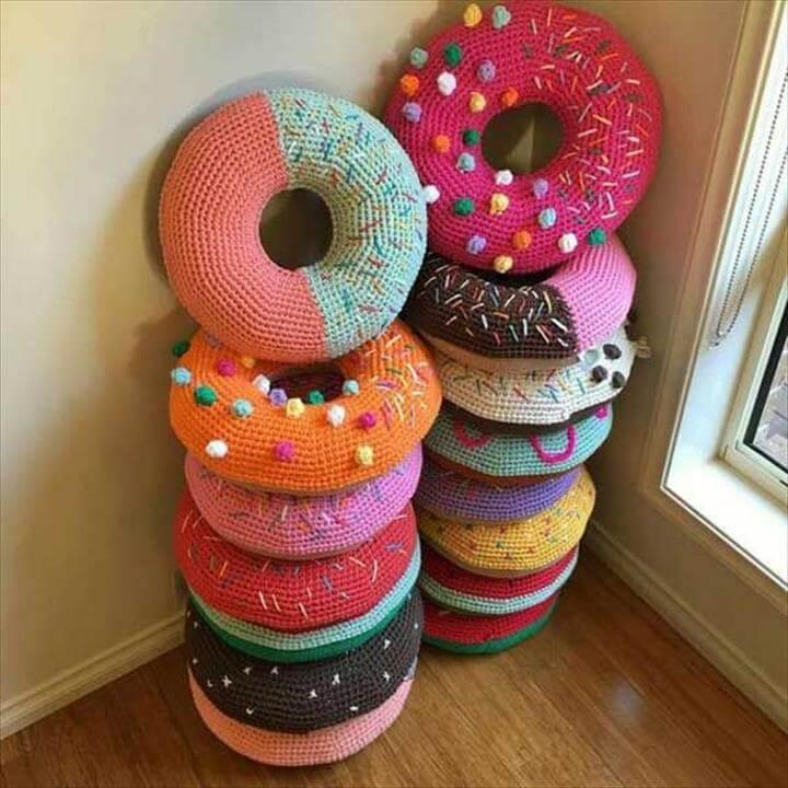 So cute crocheted donut pillows.