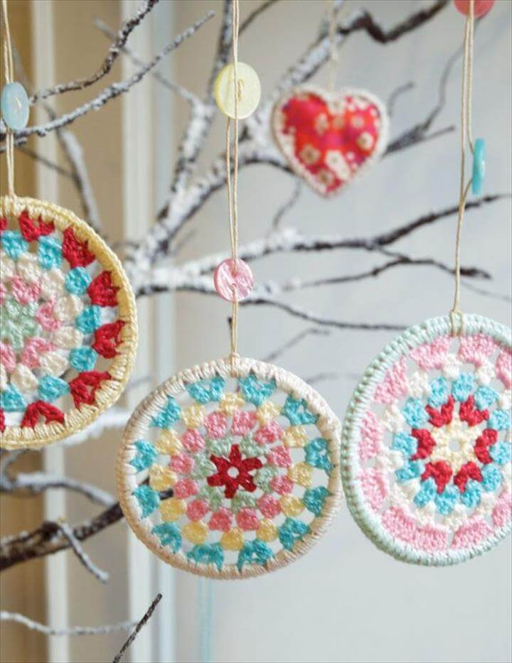 Three Crocheted Granny Circle Christmas Decorations - Crocheted Decorations