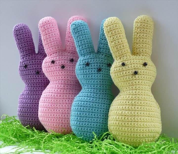 Crocheted peep bunnies