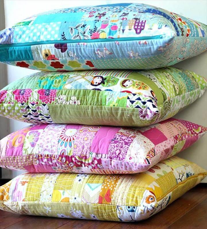 DIY Color Strips Scrap Floor Pillows Tutorial