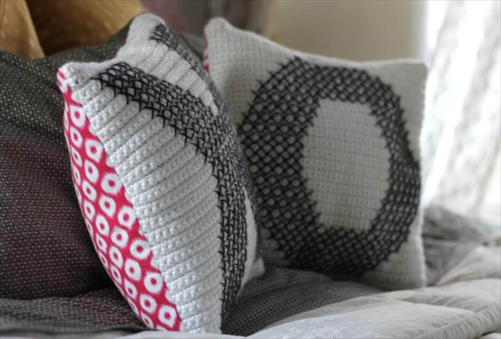 Crochet and Cross-Stitch Valentine Pillows
