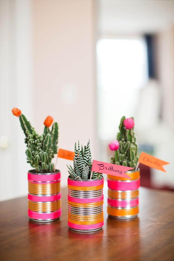 DIY Modern Cactus Wedding Place Card Favors