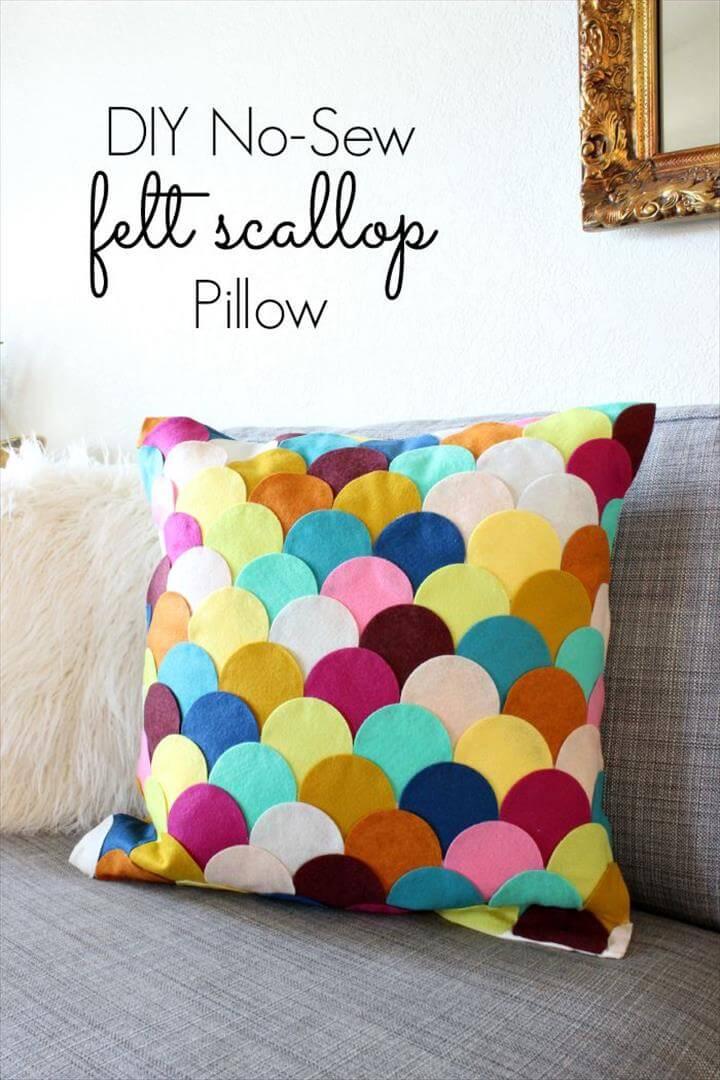 DIY No Sew Felt Rainbow Scallop Pillow from Classy Clutter