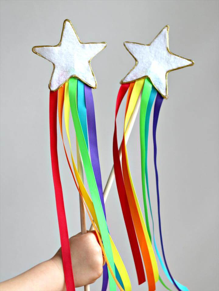 DIY Rainbow Ribbon Fairy Wands for Kids! Learn how to make this no-sew