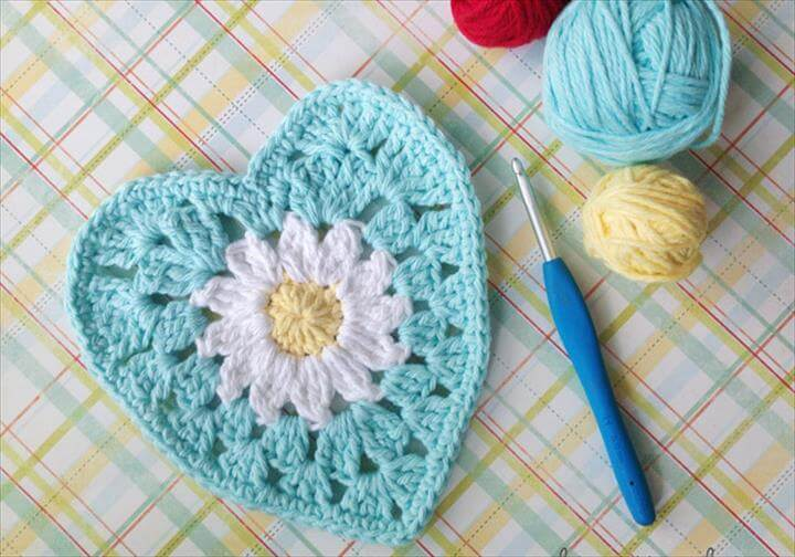 Crochet Heart with Daisy Center. Colorful Dishcloth. Crochet Jellyfish