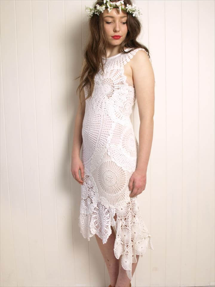 wedding dress made from crocheted doilies