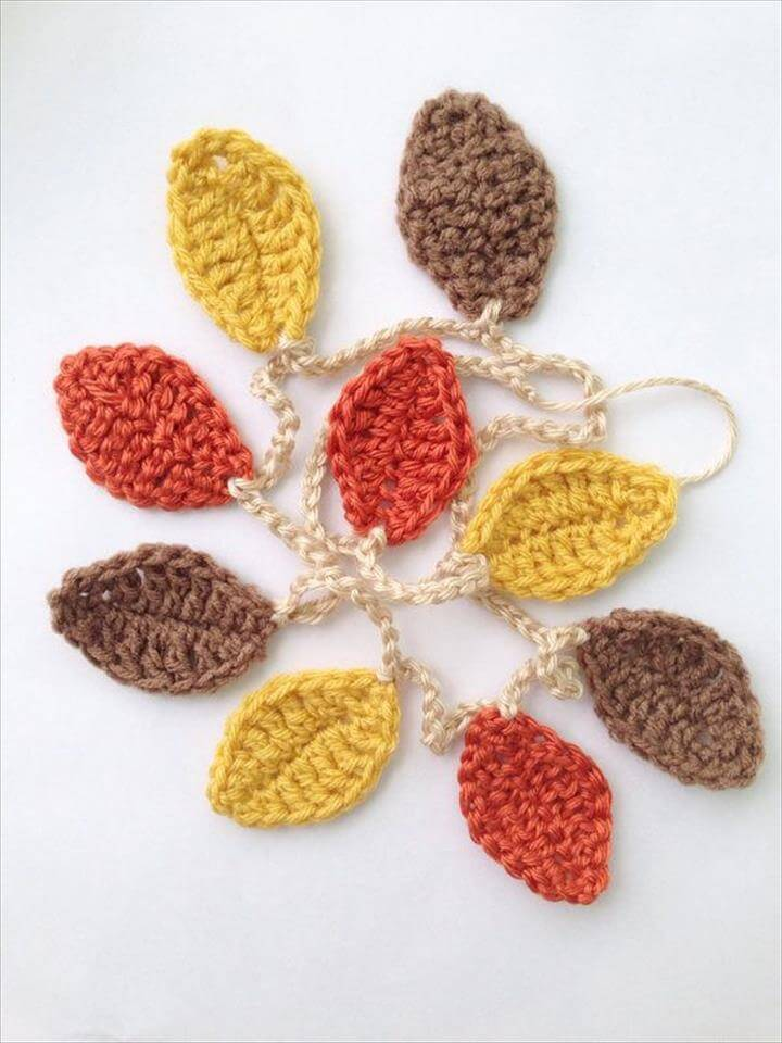 Fall Decorations - Leaf Garland - Fall Garland - Halloween Decor - Fall Banner - Thanksgiving Decor Knit Crochet Garland Autumn Garland