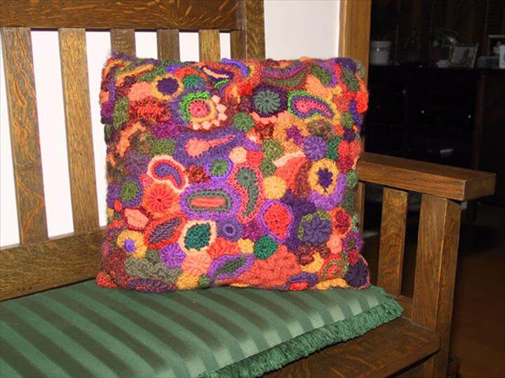 Freeform Crochet Pillow