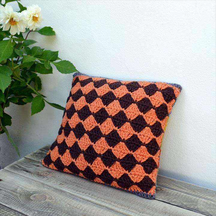 Geometric Diamond Crochet Blanket