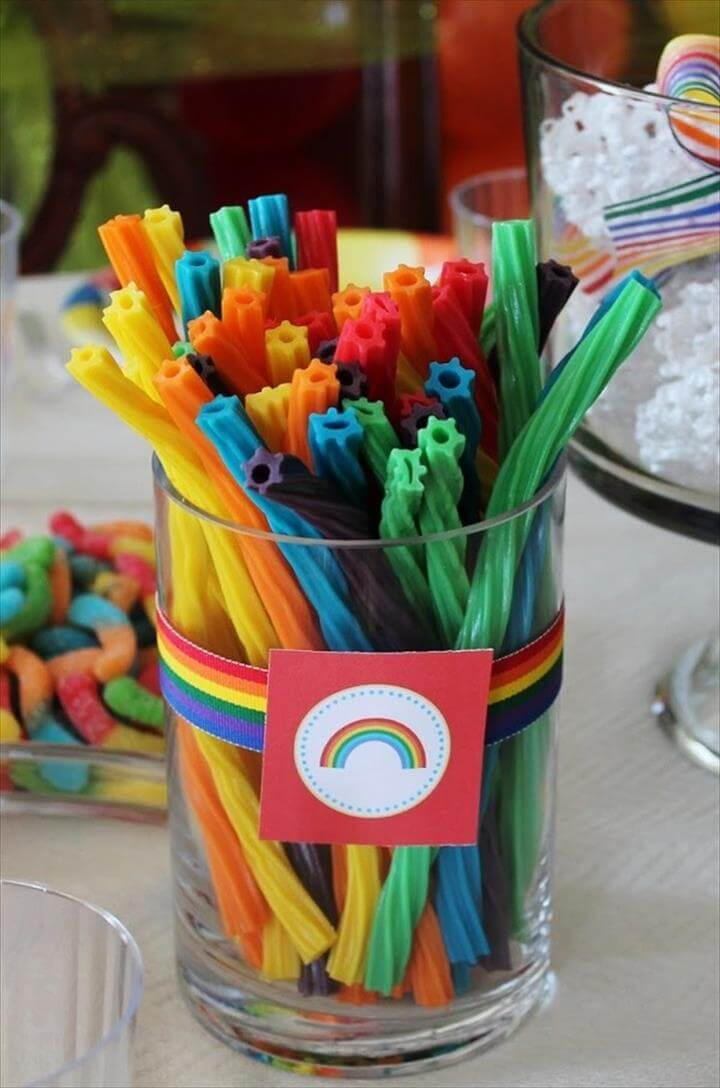 Glass of Rainbow Licorice, St. Patrick's Day Party Ideas, DIY Treats for Kids