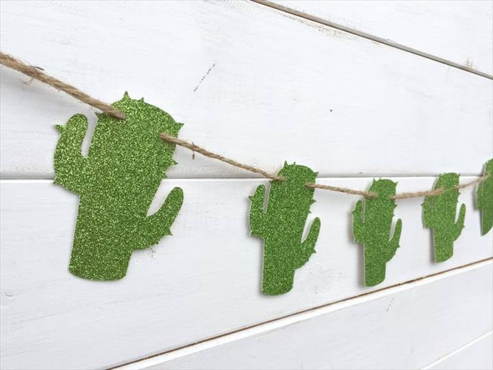 CACTUS paper banner, glitter green cactus banner, western banner, southwest decor, desert