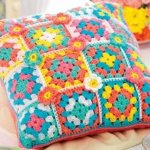 colorful crochet pillow