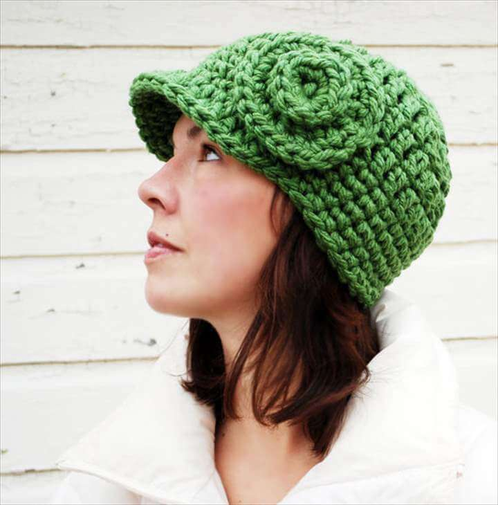 green color hat crochet hair accesory