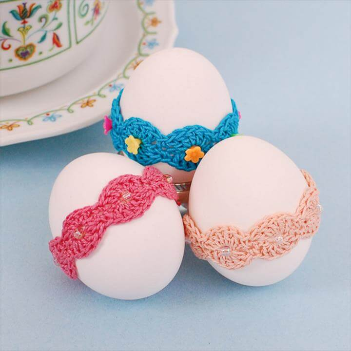 Crochet Easter Pattern ... Lace Wrap Egg Decor