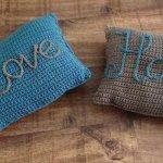 Love Home Crochet Pillow