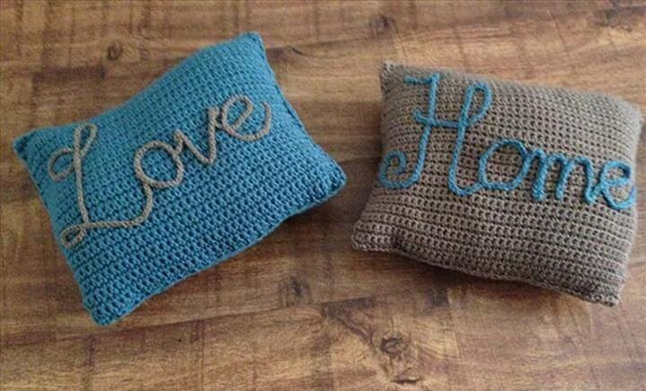 Love Home Crochet Pillow