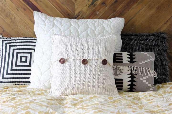 white crochet pillow