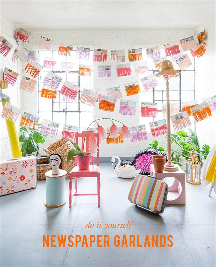 DIY newspaper garland