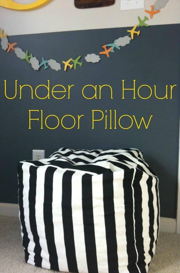 easy sewing project kids room One Hour Floor Pillow Tutorial