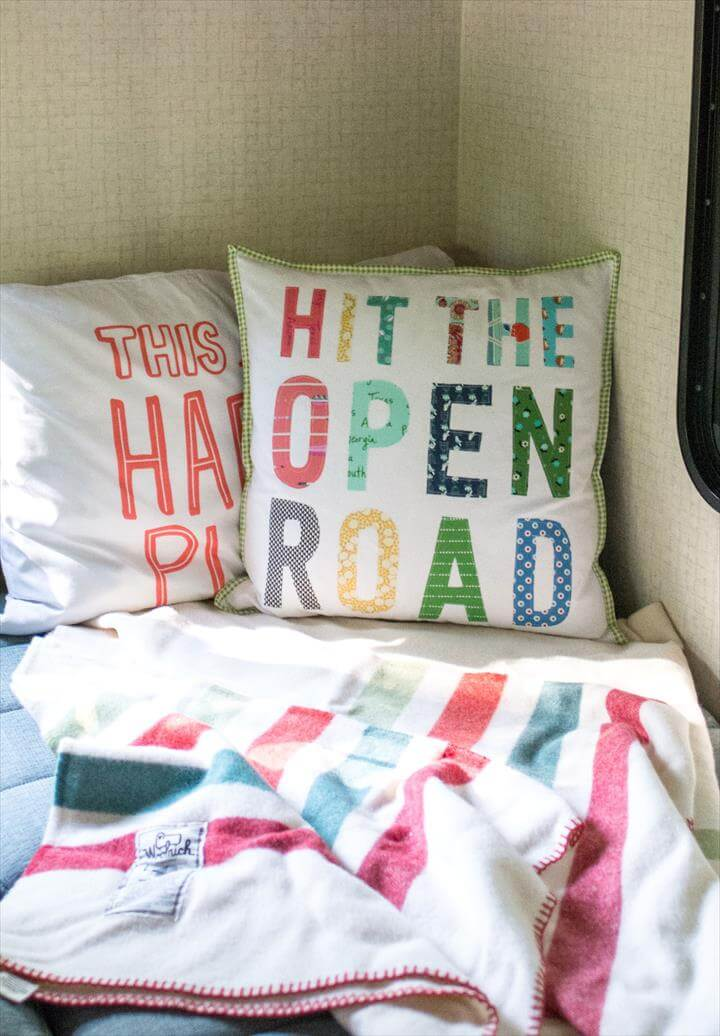 Free tutorial for a Hit the Open Road pillow, a fun DIY project for an