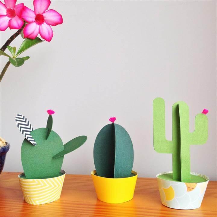 DIY Handmade Colours Paper Cactus