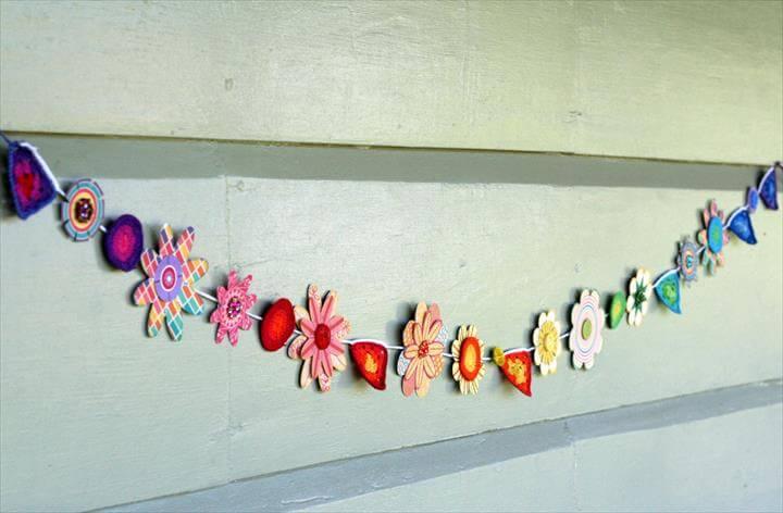 papercraft and crochet garland
