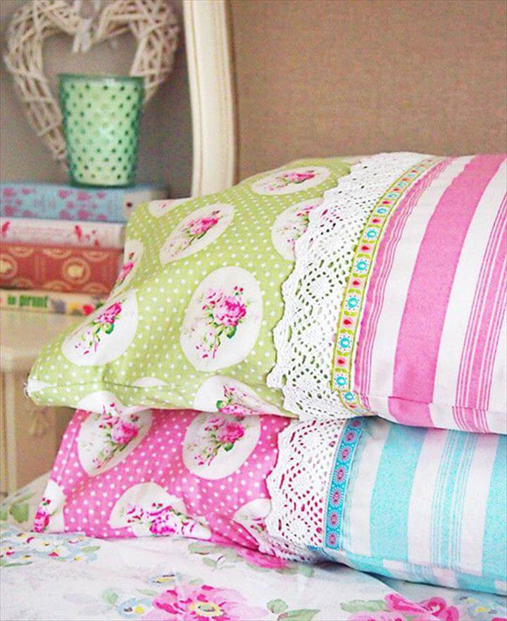 DIY Sewing Projects- Pillowcase Ideas - Pillowcase Sewing Tutorial with Ribbon and Lace at http