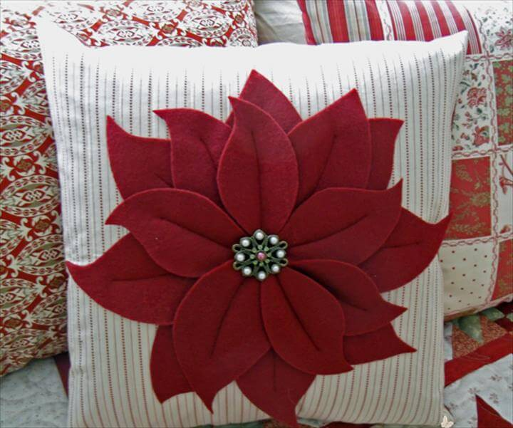 Christmas Once a Month – Poinsettia Pillow