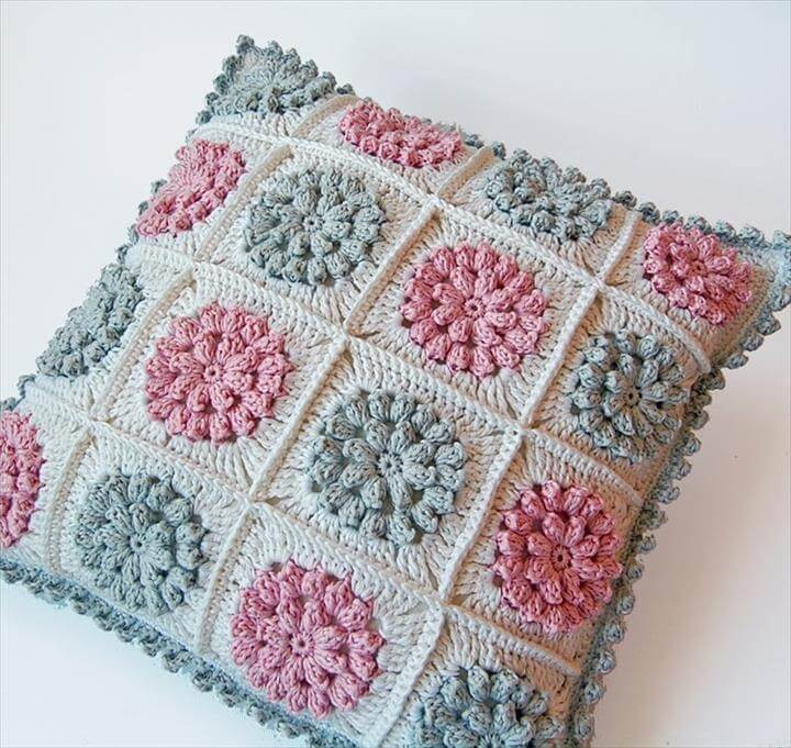 Popcorn granny square pillow free pattern