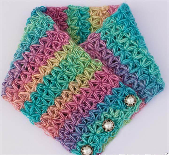 DIY Free Pattern and YouTube Video Tutorial Crochet Oh My Stars Scarf - Puffy Flower Star