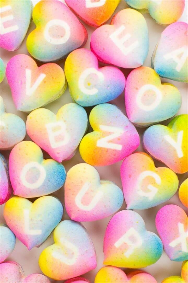 rainbow heart macarons