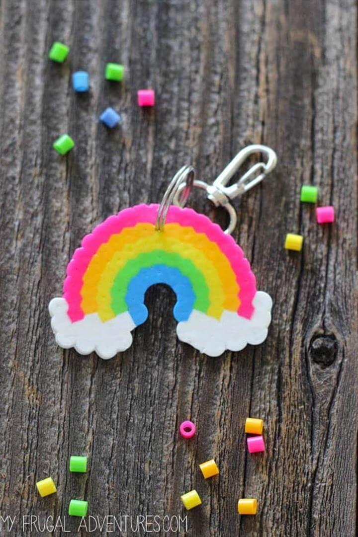 Best DIY Rainbow Crafts Ideas - Rainbow Perler Bead Key Chain - Fun DIY Projects With
