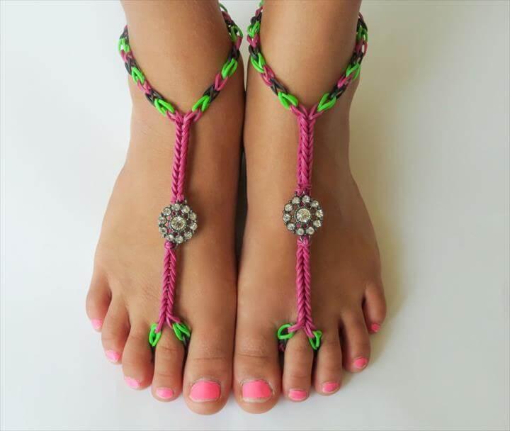 Rainbow Loom Barefoot Sandals Tutorial