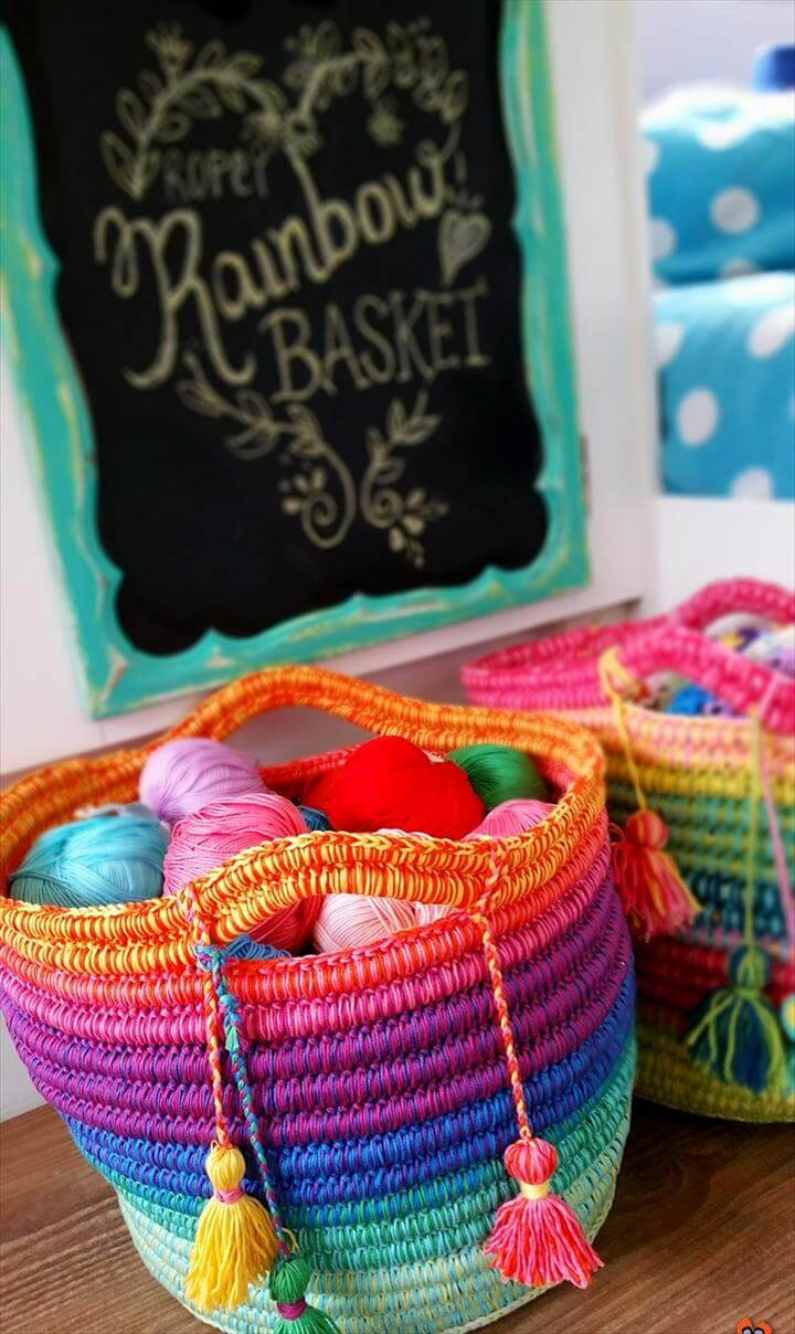 Rainbow Ropey Basket Crochet Tutorial