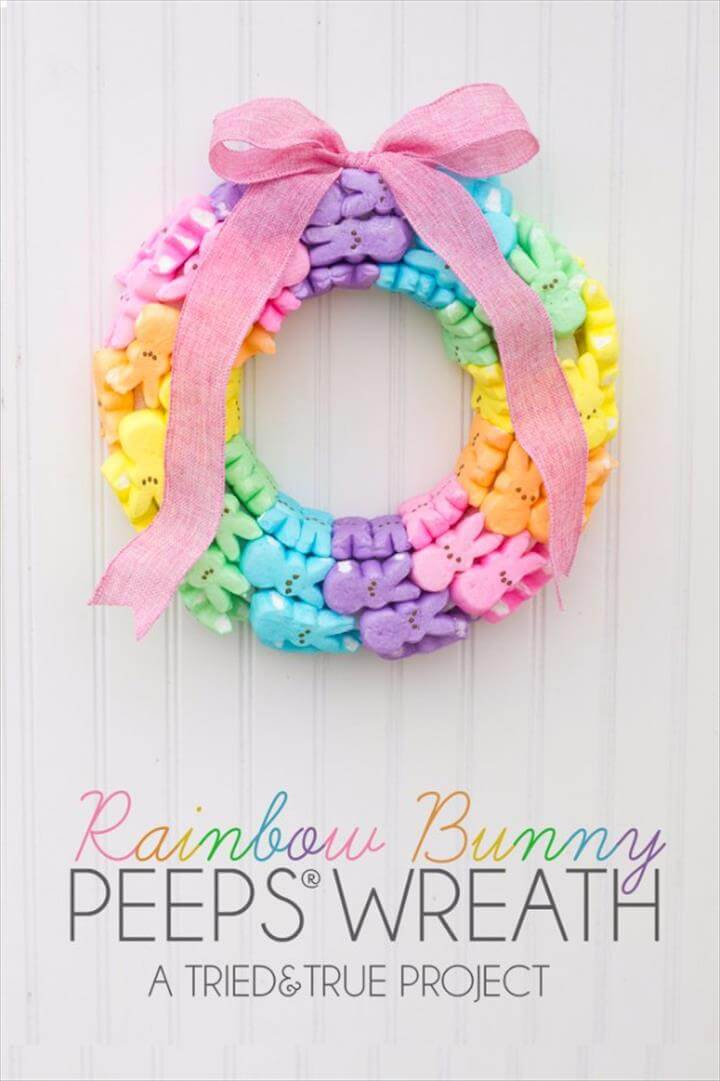 DIY Easter Decorations - Decor Ideas for the Home and Table - Rainbow and Bunny Peeps
