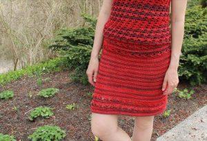 crochet red skirt