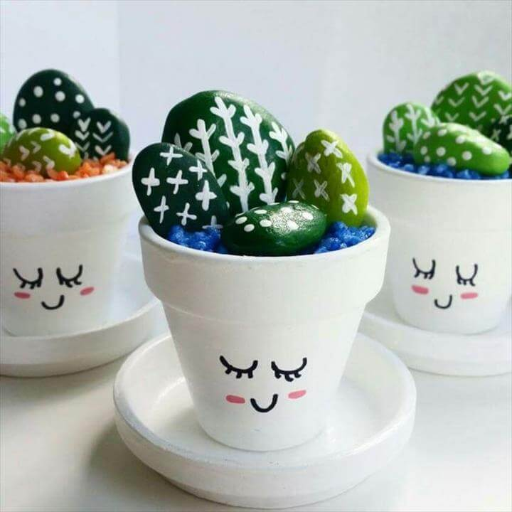 Rock cactus in cute pots! Craft Ideas