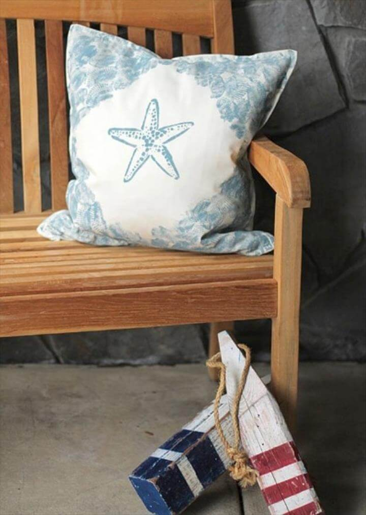 DIY Pillows and Creative Pillow Projects - Seashell Stamped Pillow Tutorial - Decorative Cases and Covers