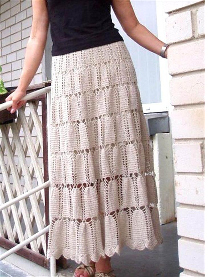 Hand Crocheted Maxi Skirt in White