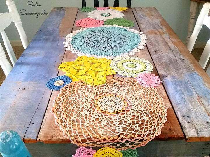 Spring Doily Table Runner